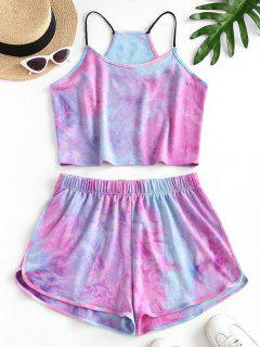 Rainbow Tie Dye Top And Shorts Set - Blue M