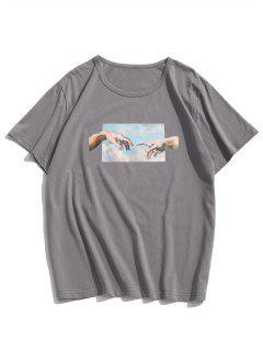 Camiseta De Manga Corta Con Estampado De Manos - Gris Oscuro S