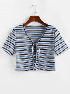 ZAFUL Striped Ribbed Tie Front Crop T-shirt - Light Blue S