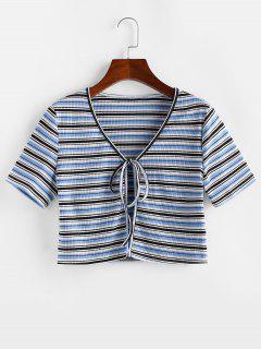 ZAFUL Gestreiftes Geripptes Kurzes T-Shirt Mit Bindeband - Hellblau S