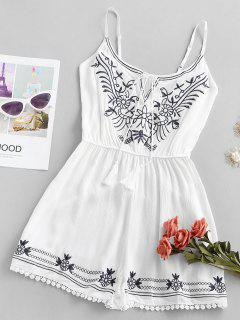 Ethinc Embroidery Tie Tassels Cami Romper - White