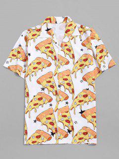 Pizza Print Button Down Shirt - Milk White M