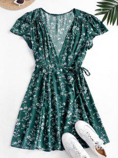 Ditsy Floral Mini Wrap Dress - Deep Green S