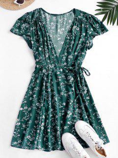 Ditsy Floral Mini Wrap Dress - Deep Green M