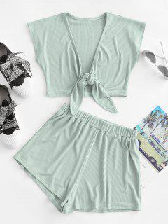 Tie Front Ribbed Cropped Two Piece Set - Light Green L