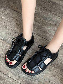Pure Color Casual Lace Up Sandals - Black Eu 39