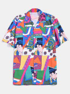 Character Geo Graphic Print Notched Collar Shirt - Lava Red Xl