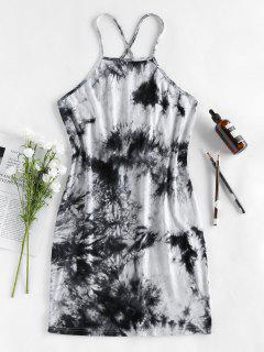 ZAFUL Lace Up Tie Dye Mini Tight Dress - Black M