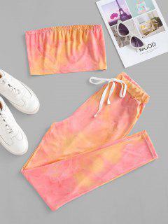 Tie Dye Bandeau Drawstring Two Piece Set - Light Pink Xl
