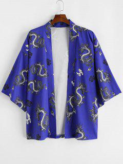 Cardigan Kimono Fleur Dragon Imprimés Ouvert En Avant - Bleu Cobalt 2xl