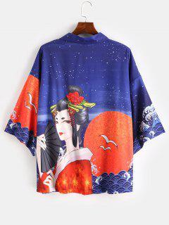 Geisha Printed Oriental Kimono Cardigan - Lapis Blue M