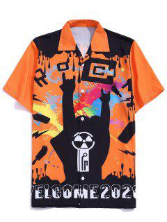 Graffiti Paint Welcome 2020 Print Button Up Shirt - Bright Orange M
