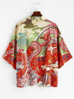 Open Front Octopus Fish Print Oriental Kimono Cardigan - Lava Red M