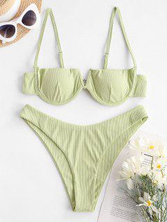 ZAFUL Subtle Taste Ribbed Balconette Bikini Swimwear - Light Green M