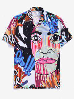 Graffiti Graphic Print Button Down Shirt - Blueberry Blue M