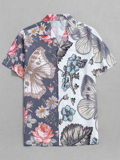 Butterfly And Flower Print Vacation Shirt - Marble Blue L