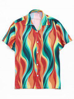 Colored Flame Print Button Down Shirt - Orange M