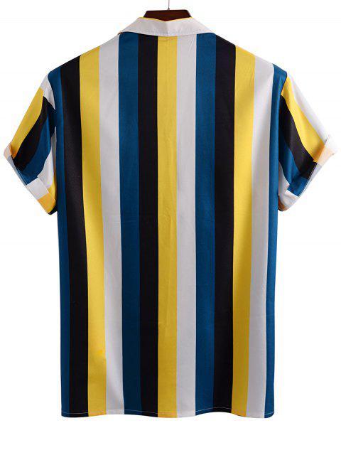Farbblock Streifen Knopf Hemd - Gelb 3XL Mobile