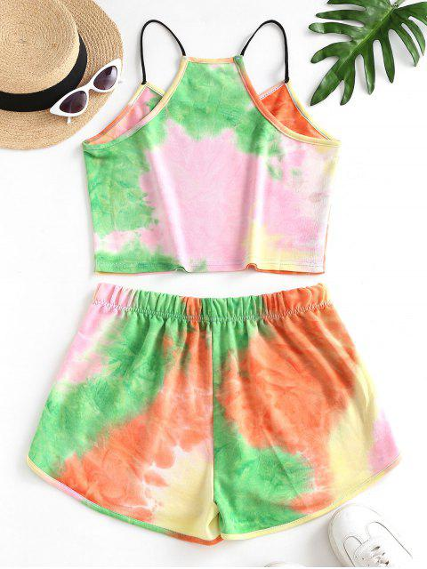 outfits Rainbow Tie Dye Top And Shorts Set - LIGHT PINK S Mobile