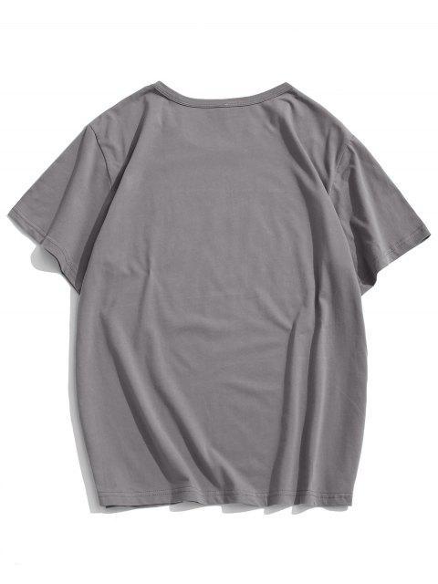 ladies Helping Hands Print Short Sleeves T-shirt - DARK GRAY L Mobile