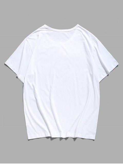 Camisola Curta Gráfica de Ombro com Colar de Borboleta e Manga Curta - Branco XS Mobile