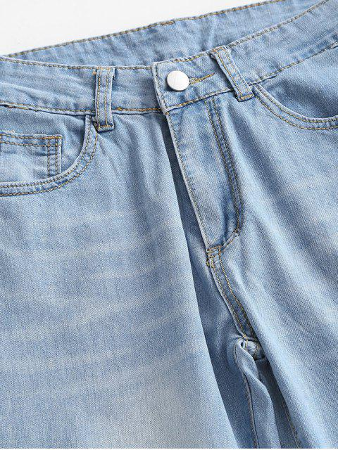 outfits Ripped Raw Hem Straight Jeans - LIGHT BLUE M Mobile