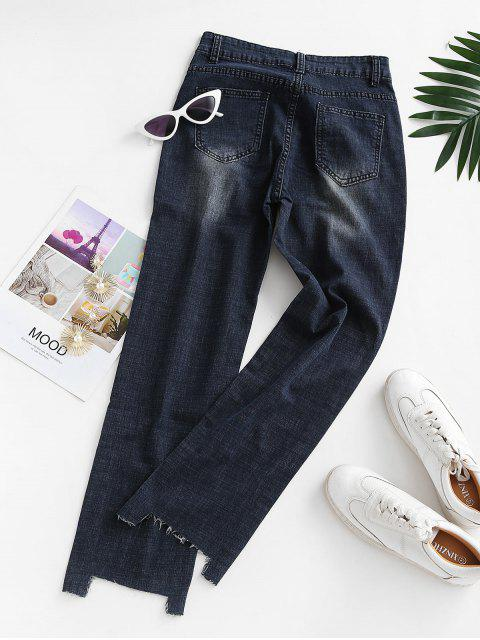 trendy Ripped Raw Hem Straight Jeans - DEEP BLUE M Mobile