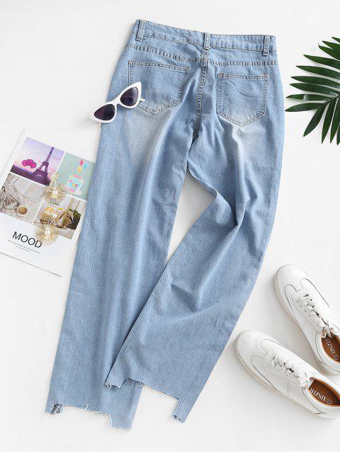 fashion Ripped Raw Hem Straight Jeans - LIGHT BLUE L Mobile