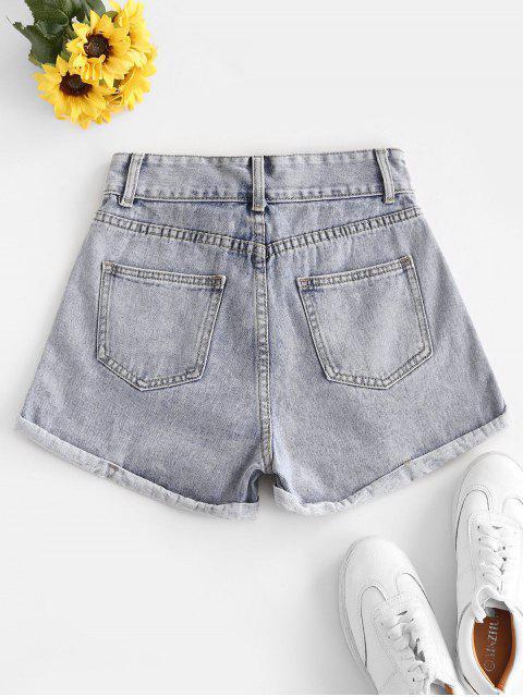 unique High Waist Cuffed Denim Shorts - LIGHT BLUE XL Mobile