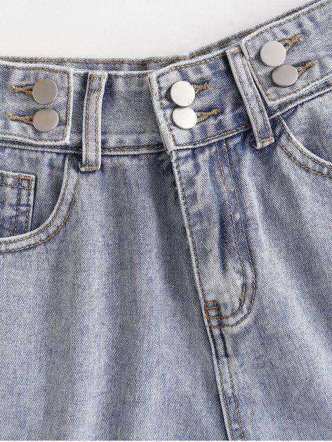 best High Waist Cuffed Denim Shorts - LIGHT BLUE L Mobile