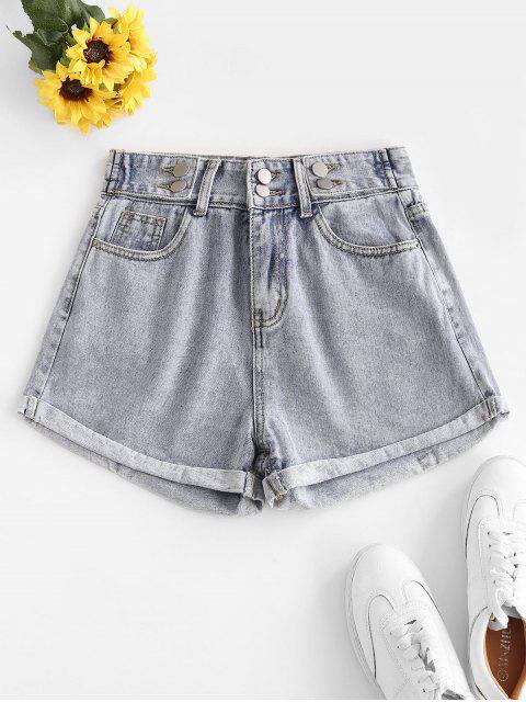 best High Waist Cuffed Denim Shorts - LIGHT BLUE M Mobile