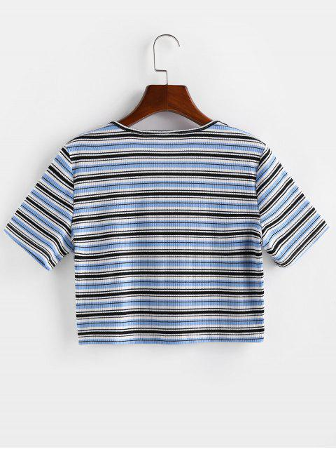fancy ZAFUL Striped Ribbed Tie Front Crop T-shirt - LIGHT BLUE S Mobile