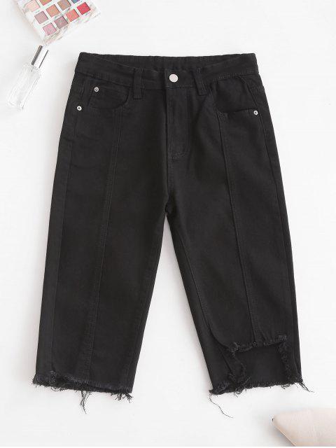 outfits Y2K Uneven Hem Capri Jeans - BLACK M Mobile