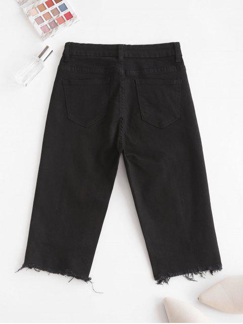 best Y2K Uneven Hem Capri Jeans - BLACK L Mobile