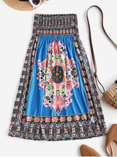 sale Smocked Tribal Print Strapless Mini Dress - BLUE ONE SIZE Mobile