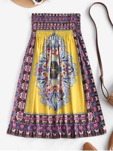 affordable Smocked Tribal Print Strapless Mini Dress - YELLOW ONE SIZE Mobile