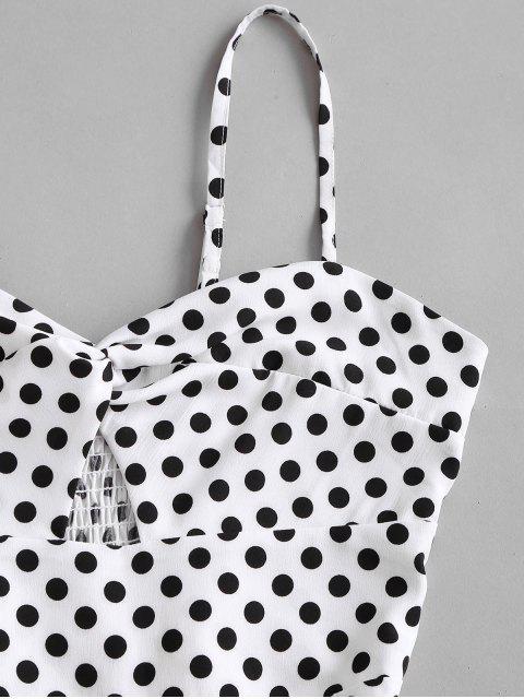 trendy Polka Dot Twist Smocked Back Cami Romper - WHITE M Mobile