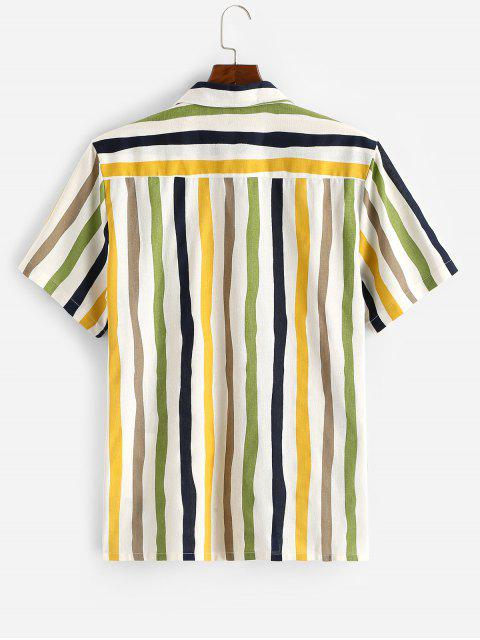 affordable Vertical Striped Print Button Up Pocket Shirt - WHITE XL Mobile