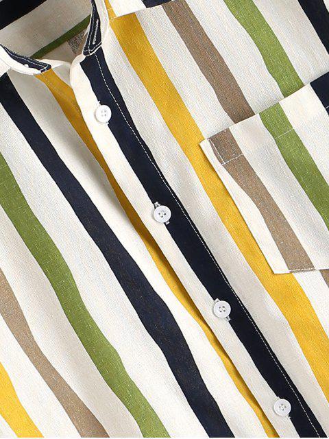 buy Vertical Striped Print Button Up Pocket Shirt - WHITE 2XL Mobile
