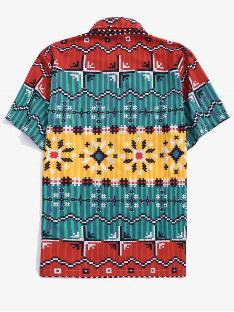 sale Contrast Geometric Pattern Button Down Shirt - BLUEBERRY BLUE 2XL Mobile