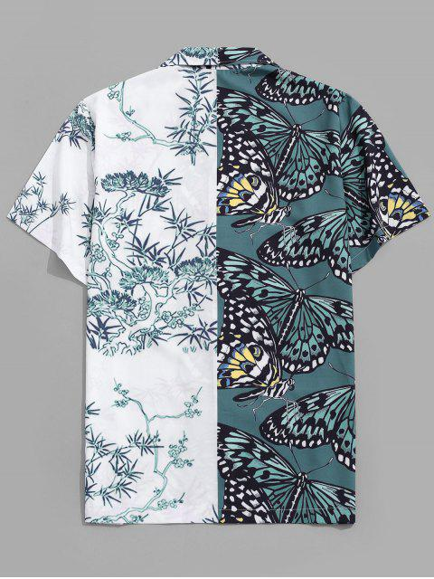 women's Tree and Butterfly Print Vacation Shirt - DARK FOREST GREEN 2XL Mobile