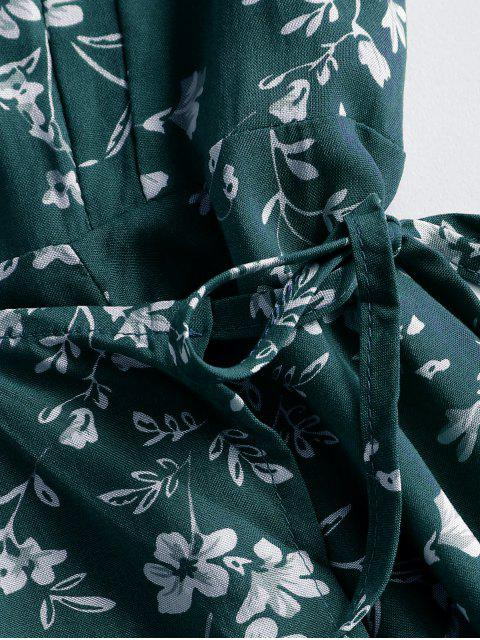 Ditsy Blumen Mini Wickelkleid - Dunkelgrün M Mobile