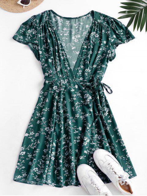 buy Ditsy Floral Mini Wrap Dress - DEEP GREEN L Mobile