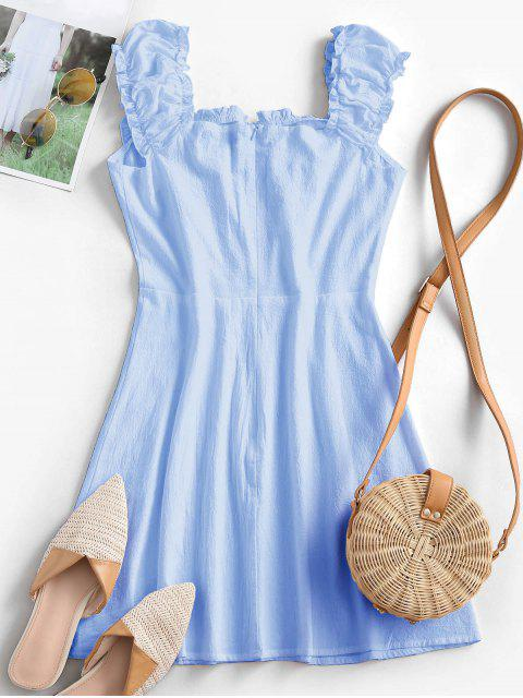 ZAFUL Frilled Tie A Line Short Dress - أزرق فاتح S Mobile