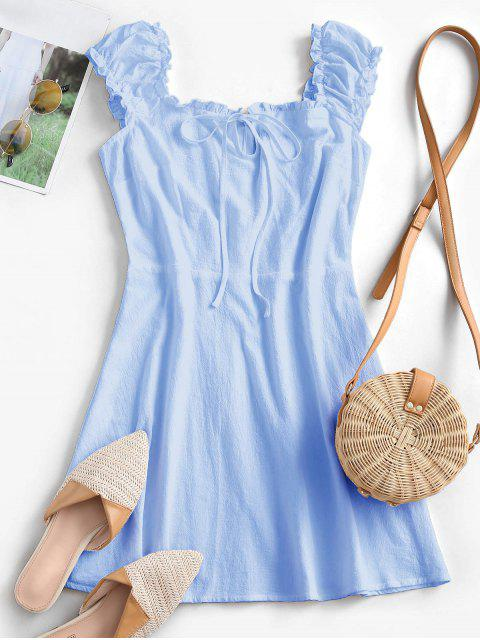 new ZAFUL Frilled Tie A Line Short Dress - LIGHT BLUE S Mobile