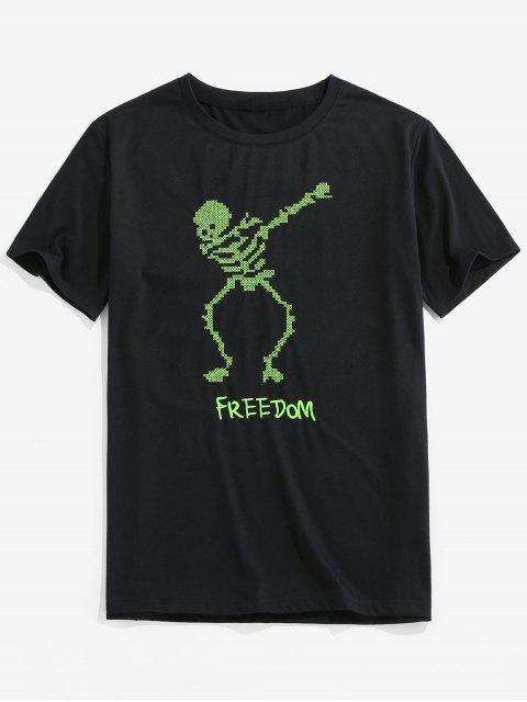 T-Shirt di ZAFUL a Maniche Corte con Stampa Scheletro - Nero 2XL Mobile