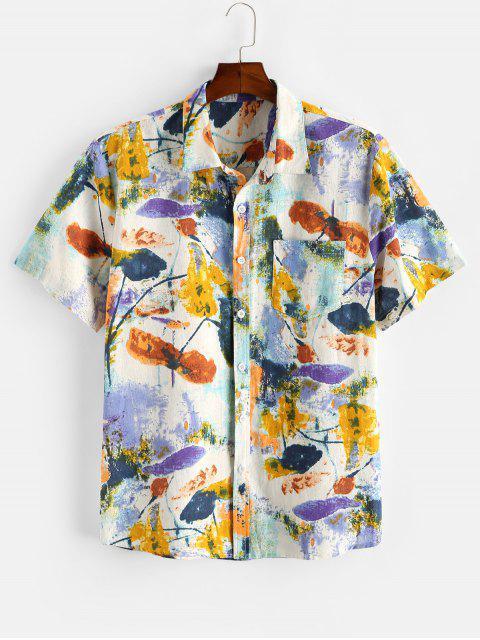 women Flower Ink Painting Print Pocket Patch Shirt - MULTI 2XL Mobile