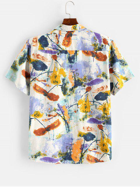 women Flower Ink Painting Print Pocket Patch Shirt - MULTI 2XL Mobile