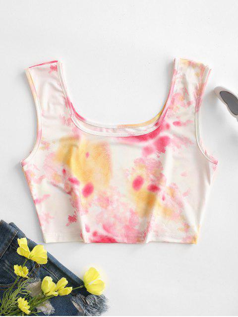 womens Tie Dye U Neck Crop Tank Top - LIGHT PINK S Mobile