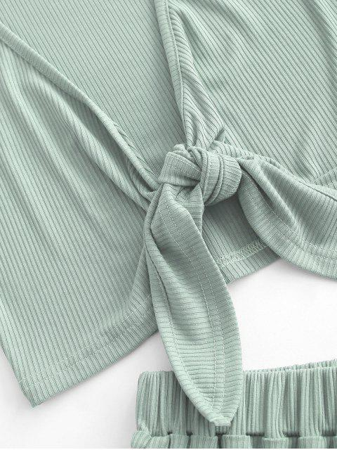 best Tie Front Ribbed Cropped Two Piece Set - LIGHT GREEN L Mobile
